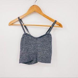 American Apparel Knit Bralette Button Crop Top